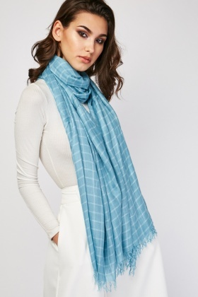 Raw Edge Window-Pane Scarf