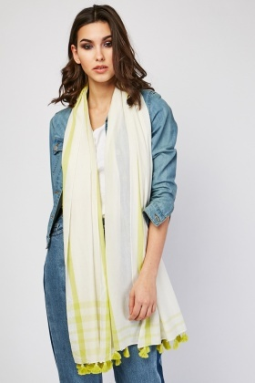 Sheer Checkered Tassel Trim Scarf