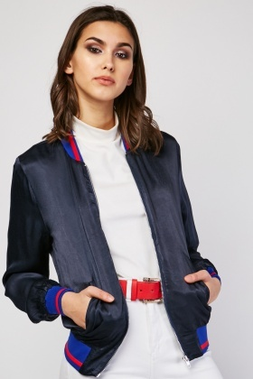 Striped Trim Sateen Bomber Jacket