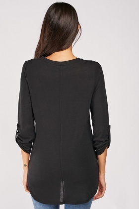 Curved Hem Black Top