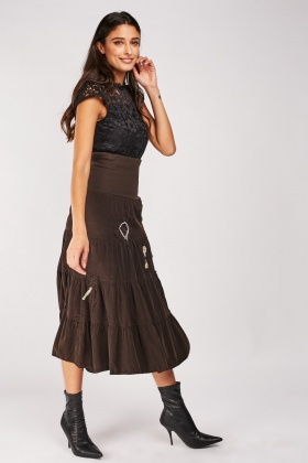Embroidered Patch Trim Midi Skirt