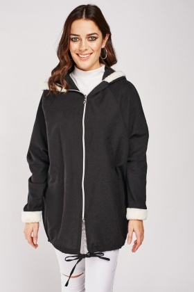 Fleece Trim Hooded Jacket