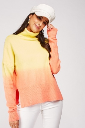 Roll Neck Ombre Knit Jumper