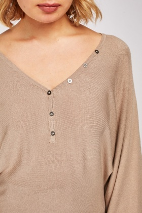 Slouchy Batwing Sleeve Knitted Top