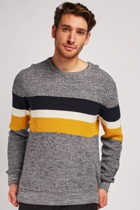 Speckled Colour Block Knit Jumper