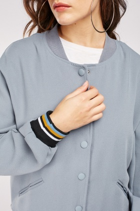Striped Rib Trim Varsity Jacket
