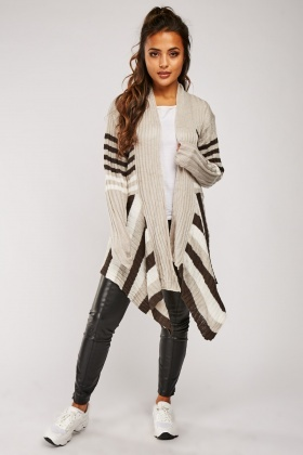 Waterfall Striped Panel Cardigan