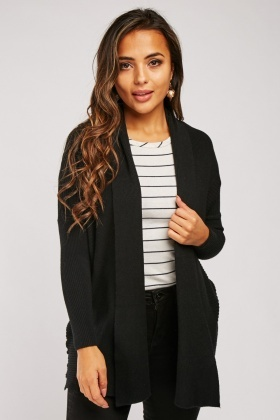 Contrasted Rib Knit Cardigan