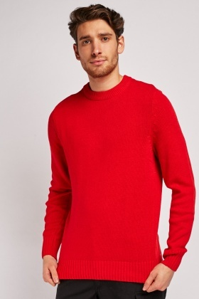 Crew Neck Red Knit Jumper