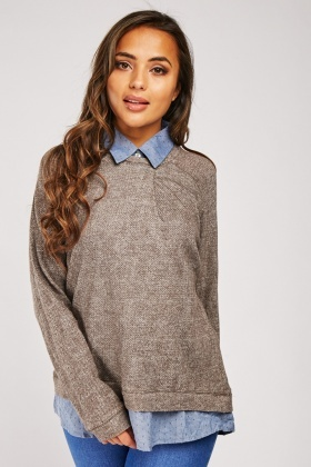 Shirt Underlay Jersey Knit Top
