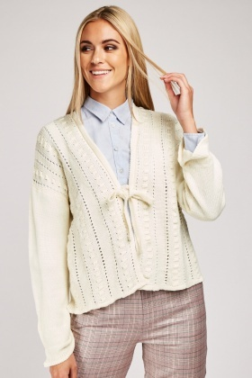 Tie Up Perforated Knit Cardigan