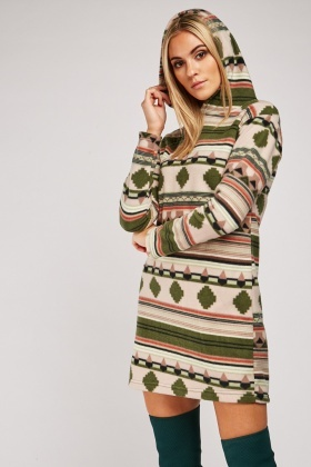 Aztec Print Hooded Fleece Dress