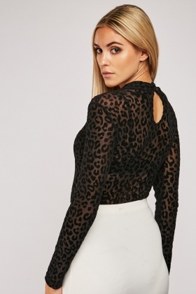 Cheetah Pattern Devore Mesh Bodysuit
