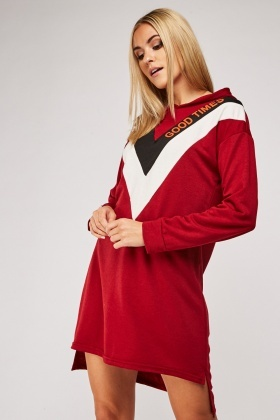 Colour Block Hooded Dress