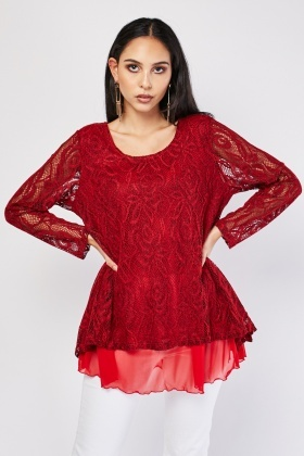 Lace Overlay Long Sleeve Top