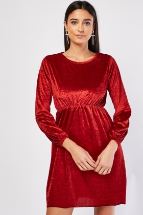 Long Sleeve Crushed Velveteen Dress