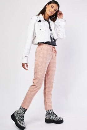 Window-Pane Tapered Trousers