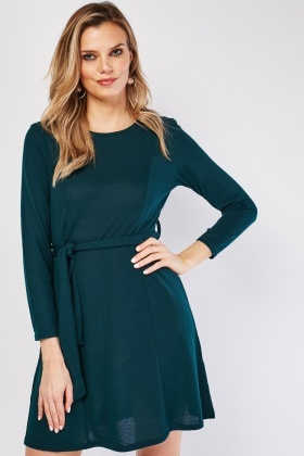 Belted A-Line Jersey Dress