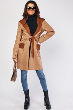 Drawstring Waist Suedette Trench Coat