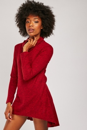 Funnel Neck Dip Hem Dress