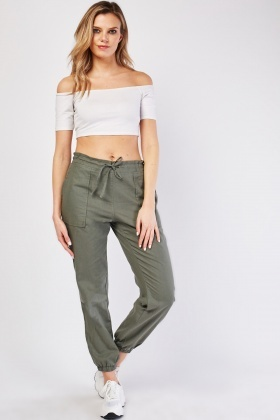 Mix Linen Elasticated Ankle Trousers