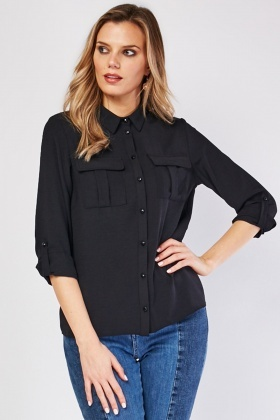 Pocket Flap Front Black Shirt