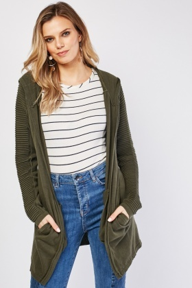 Ribbed Sleeve Hooded Cardigan