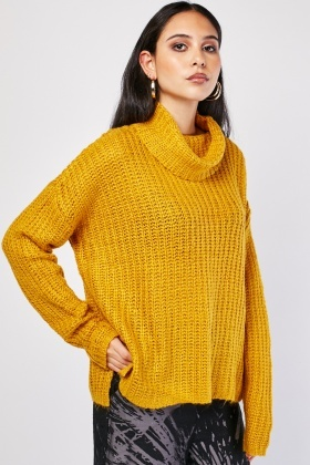 Slouchy Roll Neck Knit Jumper