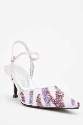 Beaded Buckle Strap Kitten Heels