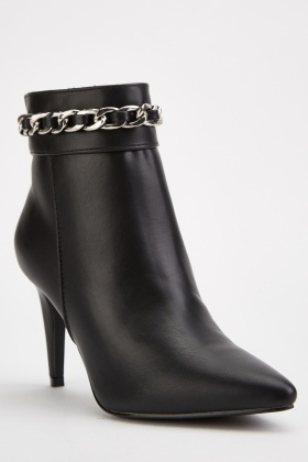 Chain Detail Heeled Ankle Boots