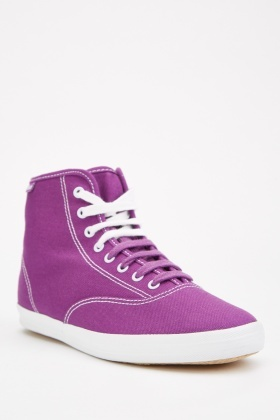 Contrast Lace Up High Top Trainers