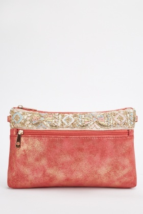 Embroidered Detail Pouch Bag