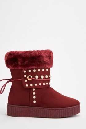 Faux Pearl Trim Winter Boots