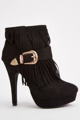 Fringed High Heeled Boots