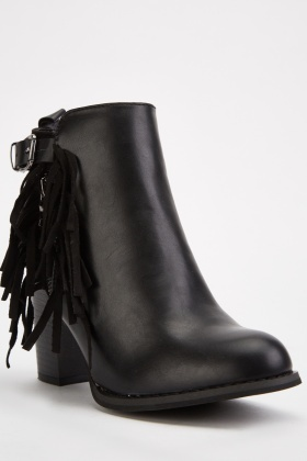 Fringed Trim Ankle Boots
