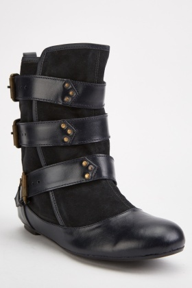 Multi Buckled Suedette Ankle Boots