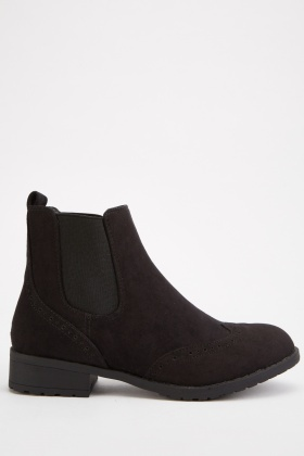 Patterned Trim Ankle Boots