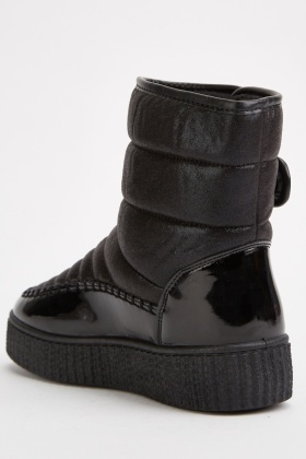 Quilted Black Winter Boots