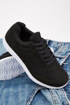 Textured Black Trainers