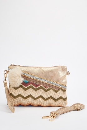 Weaved Zig-Zag Pouch Bag
