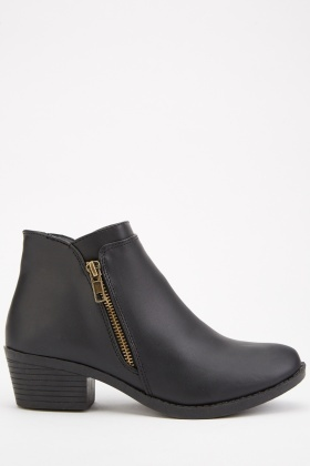 Zipper Side Ankle Boots