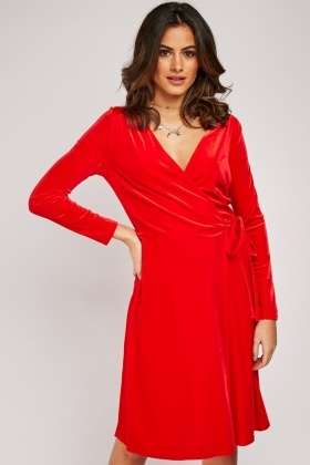 Belted Velveteeen Wrap Dress