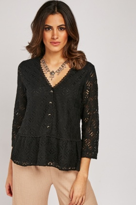 Lace Pattern Overlay V-Neck Blouse