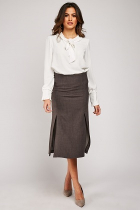 Midi Pencil Skirt With Multiple Slit