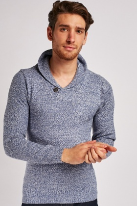 Shawl Collar Speckled Knit Jumper