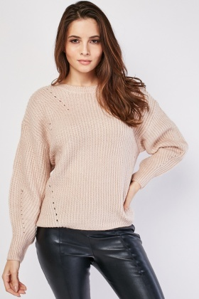 Chunky Herringbone Perforated Contrast Jumper