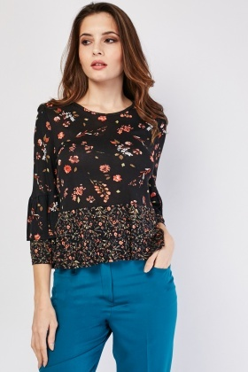 Ditsy Floral Layered Sleeve Top
