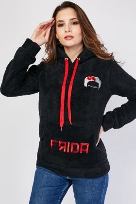 Embroidered Fleece Hooded Jumper
