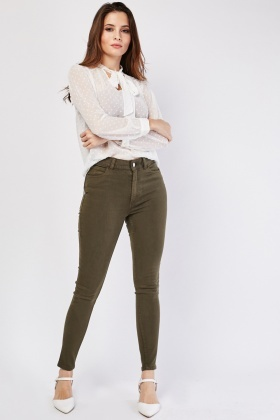 Plain Skinny Fitted Jeans