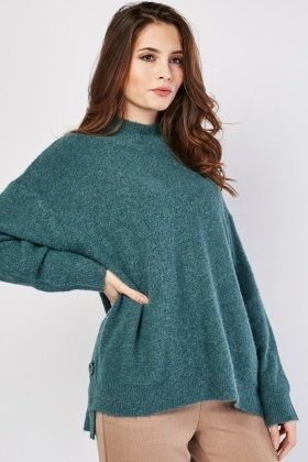 Slouchy Button Side Jumper